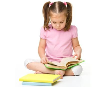 child care girl reading book learning